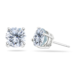 Clear Cubic Zirconia Medium Round Stud Earrings in Silver - Christmas Sale