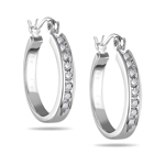 1/2 Ct Diamond Huggie Earrings in 18K White Gold