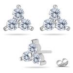 Anniversary Gift - 1 Carat VS Diamond Three-Stone Earrings