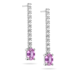 1/5 Cts Diamond & 1.50 Cts Pink Sapphire Earrings in 18K White Gold