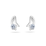 Cubic Zirconia Stud Open Setting Earrings in Silver