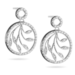 Diamond Earrings - 1/2 Carat Diamond Leaf Earrings in 14K White Gold