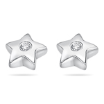 Childrens Jewelry - Diamond Star Stud Earrings in Silver