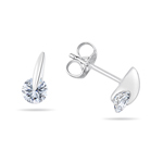 Cubic Zirconia Tension Set Round Earrings in Silver