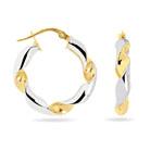 Curved Hoop Earrings in 14K Two Tone Gold
