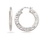 Designer Thick Hoop Earrings in 14K White Gold