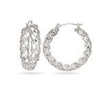 Designer Hoop Earrings in 14K White Gold