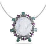 3.85 Cts Emerald Ruby Marcasite Camio Pendant in Silver