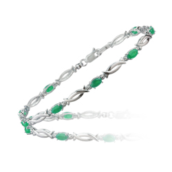 0.01 Cts Diamond & 1.85 Cts Natural Emerald Bracelet in 14K White Gold