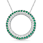 0.79 Cts Diamond & Natural Emerald Circle Pendant in 14K White Gold