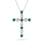 0.25 Ct Diamond & Natural Emerald Bubble Cross Pendant in 14KW Gold