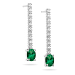 0.15-0.20 Ct Diamond & 0.69-0.90 Ct AA Oval Natural Emerald Earrings - 18KW Gold
