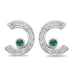 2/5 Cts Diamond & 0.08 Cts Natural Emerald Earrings in 14K White Gold