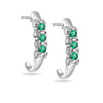 0.18 Cts Natural Emerald Three Stone Earrings in 14K White Gold