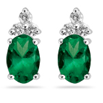 0.12 Cts Diamond & 0.68 Cts Natural Emerald Earrings in 14K White Gold