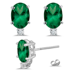 0.06 Cts Diamond & 0.68 Cts Natural Emerald Earrings in 14K White Gold