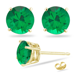 1.05-1.41 Cts of 5.5 mm AAA Round Natural Emerald Stud Earrings in 18K Yellow Gold