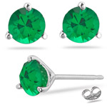 1.05-1.41 Cts of 5.5 mm AAA Round Natural Emerald Stud Earrings in Platinum