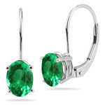 1.20-1.60 Cts of 7x5 mm AAA Oval Natural Emerald Stud Earrings with Lever Backs in 14K White Gold