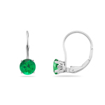 1.05-1.41 Cts of 5.5 mm AAA Round Natural Emerald Stud Earrings with Scroll Lever Backs in 14K White Gold