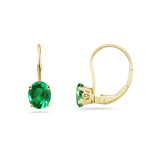 1.20-1.60 Cts of 7x5 mm AAA Oval Natural Emerald Stud Earrings with Scroll Lever Backs in 14K Yellow Gold
