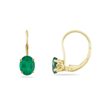 0.69-0.90 Cts of 6x4 mm AA Oval Natural Emerald Stud Earrings with Scroll Lever Backs in 14K Yellow Gold