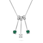 0.10 Cts Diamond & 0.18 Cts Natural Emerald Necklace in 14K White Gold