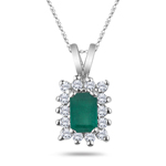 0.13 Cts Natural Emerald & 0.33 Cts Diamond Pendant in 14K White Gold