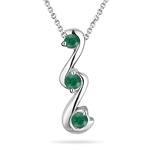 Natural Emerald Three Stone Pendant in 18K White Gold