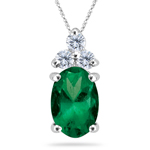 0.06 Cts Diamond & 0.34 Cts Natural Emerald Pendant in 14K White Gold