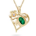 Mom Pendant - Diamond & Natural Emerald Mom Pendant in 14K Gold