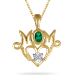 Mom Pendant with Natural Emerald in 14K Gold
