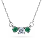 1/4 Cts Diamond & Natural Emerald Three Stone Pendant in 18K White Gold