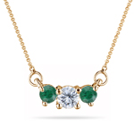 1/4 Cts Diamond & Natural Emerald Three Stone Pendant in 18K Yellow Gold