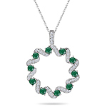 1/3 Cts Diamond & Natural Emerald Circle Pendant in 14K White Gold
