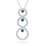 Emerald Pendant - 0.80 Cts Diamond & Natural Emerald Trio-Circle Pendant