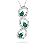 0.60 Cts Diamond & Natural Emerald Pendant