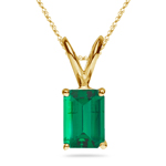 1.15-1.93 Cts of 8x6 mm AAA Emerald Cut Natural Emerald Solitaire Pendant in 14K Yellow Gold