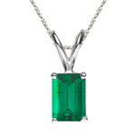 1.15-1.93 Cts of 8x6 mm AAA Emerald Cut Natural Emerald Solitaire Pendant in 18K White Gold
