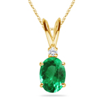 0.02 Cts Diamond & 1.84-1.87 Cts of 8x6 mm AAA Oval Natural Emerald Solitaire Pendant in 14K Yellow Gold