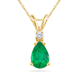 0.02 Cts Diamond & 0.55 Cts of 7x5 mm AAA Pear Natural Emerald Solitaire Pendant in 14K Yellow Gold