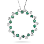 0.30 Cts Diamond & 3/4 Cts Natural Emerald Pendant in 14K White Gold