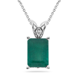 1.15-1.93 Cts of 8x6 mm AAA Emerald Cut Natural Emerald Scroll Solitaire Pendant in 14K White Gold