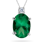 0.03 Cts Diamond & 0.34 Cts Natural Emerald Pendant in 14K White Gold