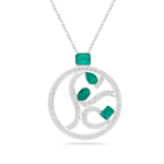 0.92 Cts Diamond & 1.92 Cts Natural Emerald Circle Pendant in 18K White Gold