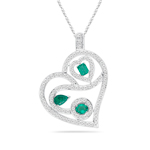 1.22 Cts Diamond & 1.20 Cts Natural Emerald Heart Pendant in 18K White Gold