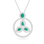 1.08 Cts Diamond & 1.54 Cts Natural Emerald Circle Pendant in 18K White Gold