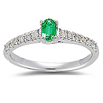 Emerald Ring - 0.18 Cts Diamond & Natural Emerald Ring in 14K Gold