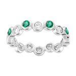 0.28 Cts Diamond & Natural Emerald Band in 14K White Gold