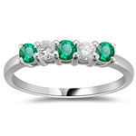 0.20 Cts Diamond and 0.30 Cts Natural Emerald Five Stone Band in 18K White Gold